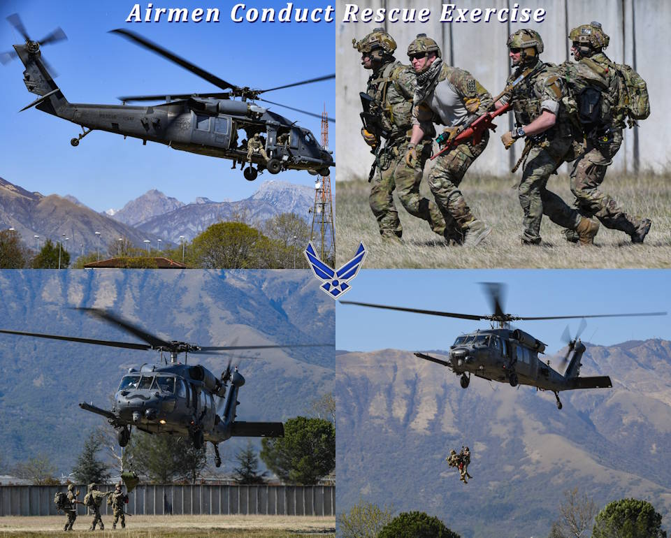 Members of the U.S. Air Force 56th and 57th Rescue Squadrons participate in a rescue exercise at Aviano Air Base, Italy during April 2020. (Image created by USA Patriotism! from U.S. Air Force photos by Airman Thomas S. Keisler IV)