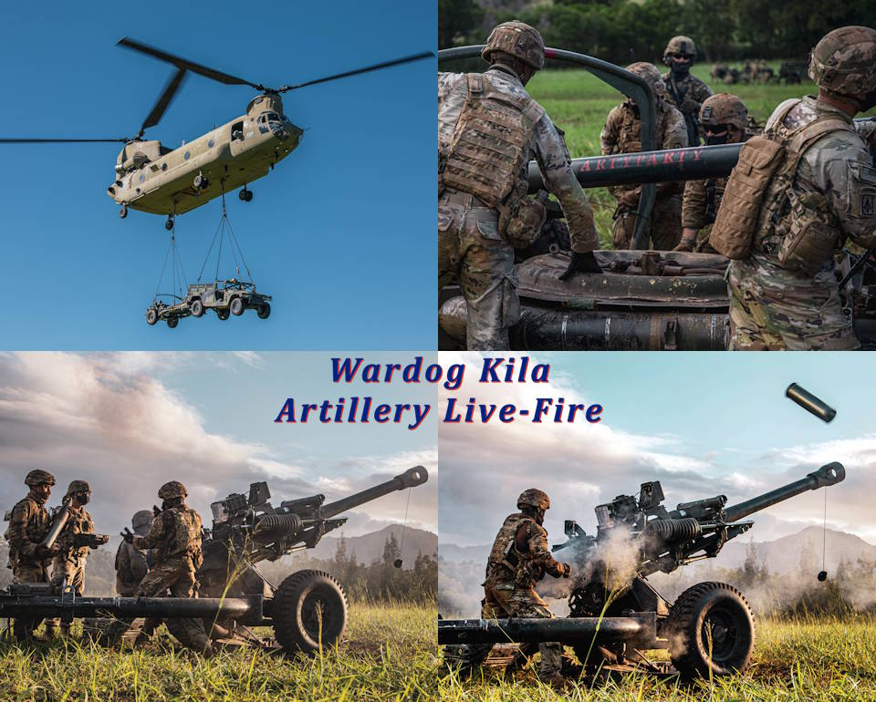 December 30, 2020 - The 25th Combat Aviation Brigade and 25th Infantry Division Artillery units worked alongside sister force, the U.S. Marine Corps, in an exercise called Operation Wardog Kila for a joint live-fire exercise at Schofield Barracks, Hawaii. (Image created by USA Patriotism! from U.S. Army photos by Sgt. Sarah D. Sangster.)