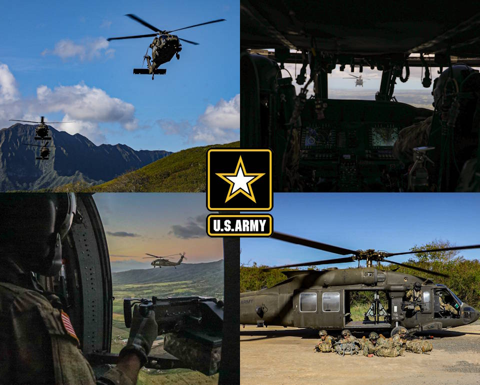 January 27, 2020 - U.S. Army UH-60 Blackhawk helicopters from 2nd Battalion, 25th Aviation Regimen and CH-47 Chinook from 3rd Battalion, 25th Aviation Regiment, conduct air assault operations alongside Soldiers from 1st Battalion, 27th Infantry Regiment, 2nd Brigade Combat Team, 25th Infantry Division from Wheeler Army Airfield, Hawaii to kick off their week of realistic training. (Image created by USA Patriotism! from U.S. Army photos by Sgt. Sarah D. Sangster)