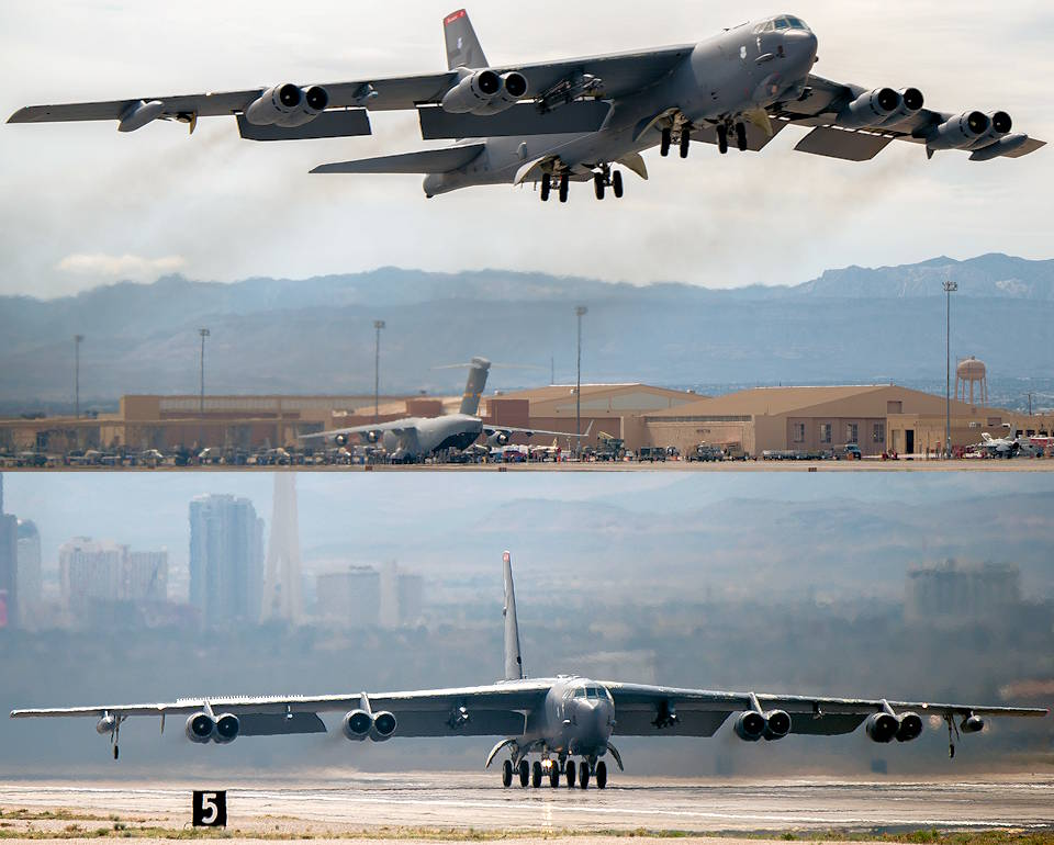 March 9, 2020 - A B-52 Stratofortress from Barksdale Air Force Base, Louisiana takes off at Nellis Air Force Base, Nevada at the start of Red Flag 20-2. The exercise is conducted over the 2.9 million square acres Nevada Test and Training Range that allows combat air forces to prepare for future threats in realistic combat scenarios. (Image created by USA Patriotism! from U.S. Air Force photos by Staff Sgt. Philip Bryant)