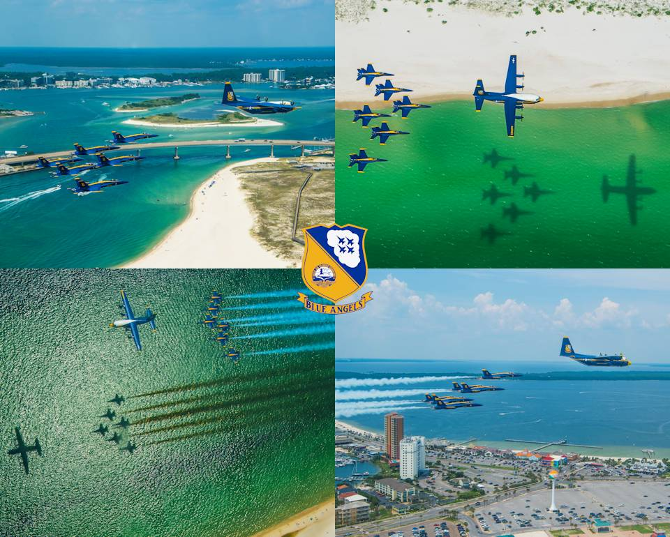 August 17, 2020 - Scenes of the U.S. Navy Flight Demonstration Squadron, the Blue Angels, C-130 pilots and crew arriving at Naval Air Station Pensacola with the team's new C-130J Super Hercules alongside the Blue Angel delta formation. (Image created by USA Patriotism! from U.S. Navy photos by Mass Communication Specialist 2nd Class Cody Hendrix)