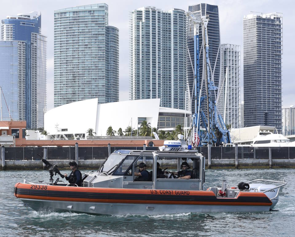 January 28, 2020 - A Coast Guard Station Miami Beach 45-foot Response Boat-Medium crew patrols Biscayne Bay in preparation for Super Bowl traffic in Miami, Florida. (Coast Guard Photo by Petty Officer 3rd Class Brandon Murray)