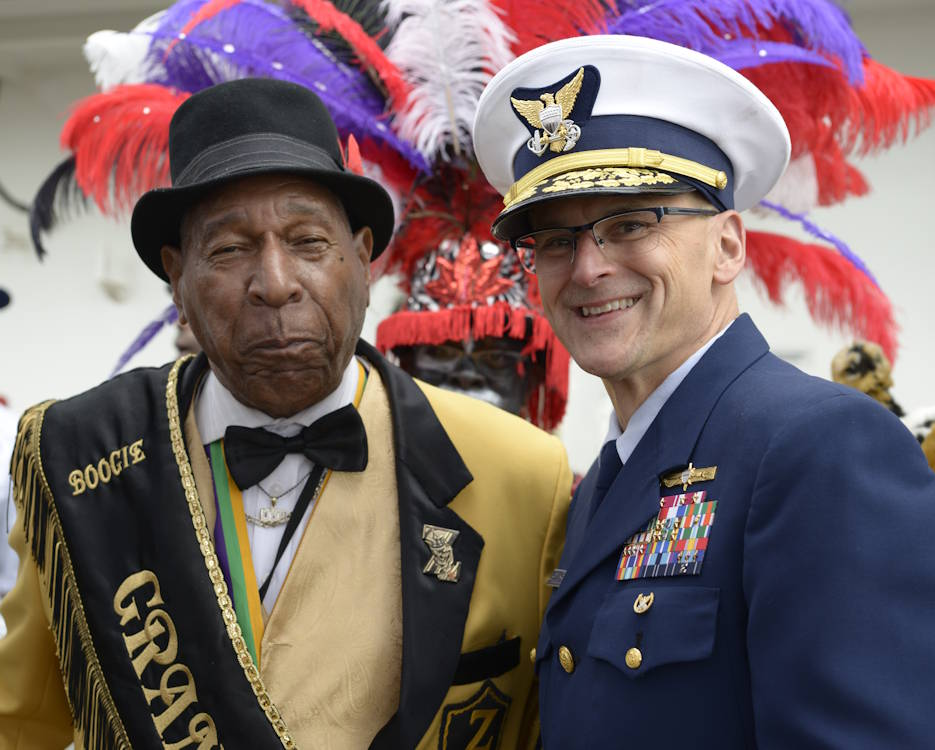 February 24, 2020 - Rear Adm. John Nadeau, Commander, Eighth Coast Guard District, with Krewe of Zulu's Grand Marshall aboard Coast Guard Cutter Barbara Mabrity in transit to Woldenberg Park, New Orleans for the start of Lundi Gras. Escorting the Krewe of Zulu aboard the cutter is a tradition in New Orleans. (U.S. Coast Guard photo by Petty Officer 3rd Class Sydney Phoenix)