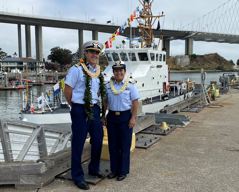 July 27, 2020 - Lt.j.g. Kiana Kekoa relieved Lt. Nolan Salyer as the commanding officer of the Coast Guard Cutter Tern in a change-of-command ceremony held at Coast Guard Sector San Francisco. (U.S. Coast Guard photo by Lt. Pantelis Vasilarakis)