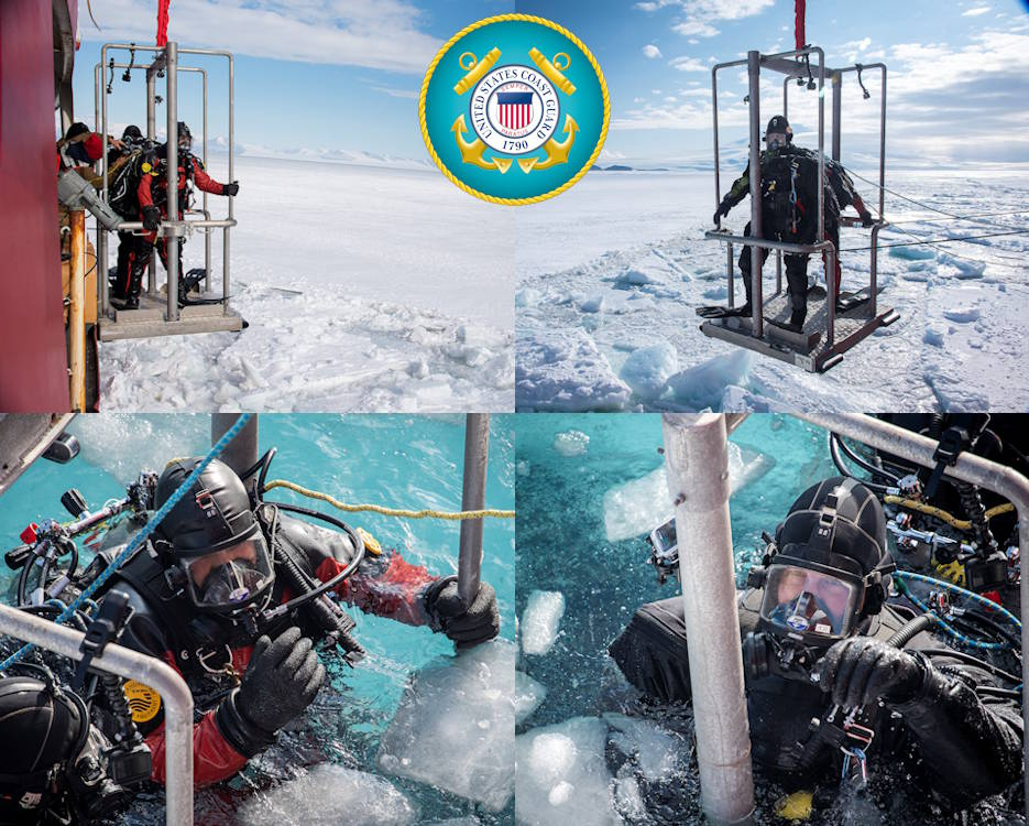 February 1, 2020 - Scuba divers from the U.S. Coast Guard, U.S. Army and the Royal Canadian Navy are serving aboard the U.S. Coast Guard Cutter Polar Star in order to effect emergency repairs, if needed to the 44-year-old heavy icebreaker, during an inspection scuba dive approximately seven miles north of McMurdo Station, Antarctica. (Image created by USA Patriotism! from U.S. Coast Guard photograph by Senior Chief Petty Officer NyxoLyno Cangemi)