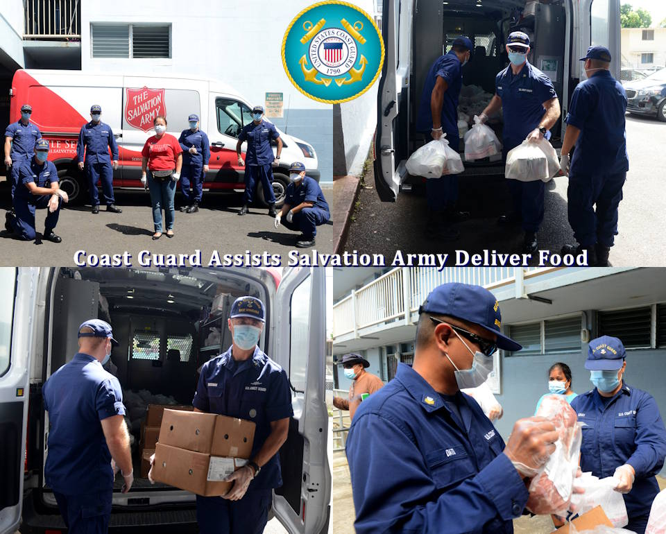April 2, 2020 - Service members from the Coast Guard 14th District assist the Salvation Army with delivering food from the Hawaii Food Bank during the COVID-19 pandemic on Oahu, Hawaii. The service members passed out bags of meat, fruit, and canned goods to households affected by the pandemic. (Image created by USA Patriotism! from U.S. Coast Guard photos by Petty Officer 3rd Class Matthew West)
