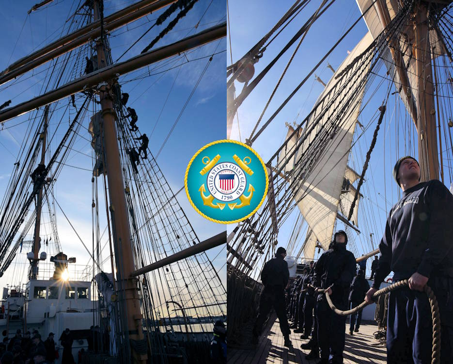 Coast Guard Academy officer candidates assigned to Coast Guard Cutter Eagle climb the ship's rigging on the first day (March 8, 2020) and set sail stations the following day, March 9, 2020. (Image created by USA Patriotism! from U.S. Coast Guard photos by Petty Officer 2nd class David Weydert)