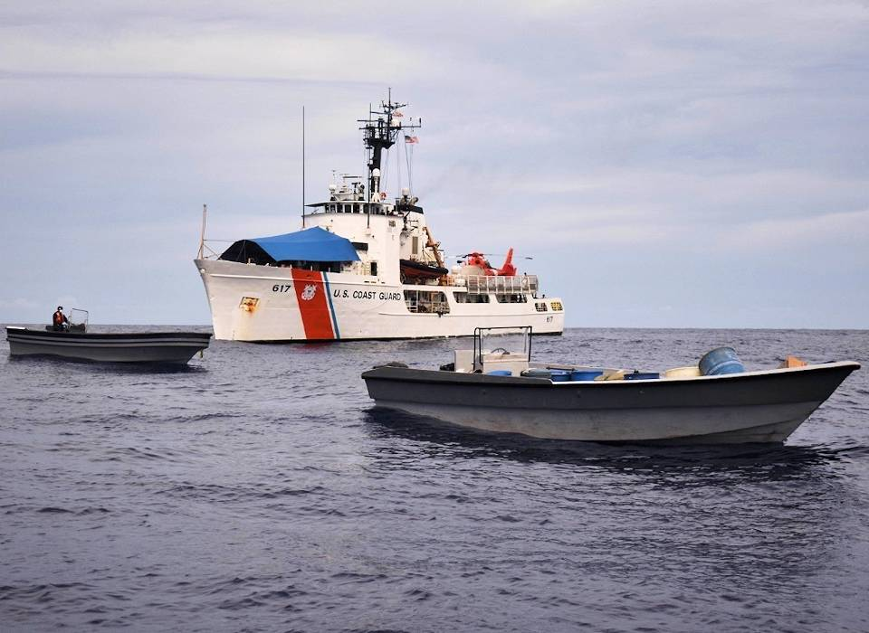 June 15, 2020 - The Coast Guard Cutter Vigilant crew seized a total of 122 bales of cocaine in back-to-back interdictions of go-fast vessels just off the coast of Limon, Costa Rica. (U.S. Coast Guard photo by Petty Officer 3rd Class Vincent Moreno)