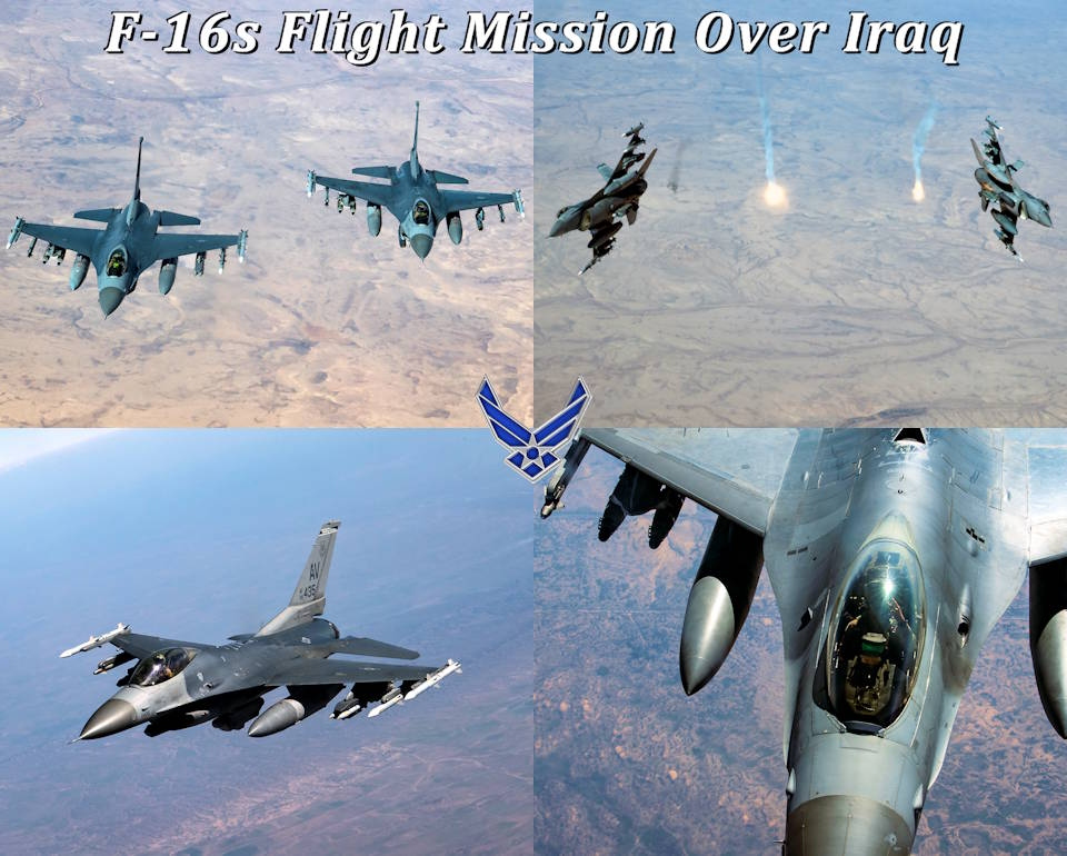 February 6, 2020 - U.S. Air Force F-16 Fighting Falcons assigned to the 555th Expeditionary Fighter Squadron, conduct a flight mission over Iraq. The F-16 is a compact, multi-role fighter aircraft that delivers war-winning airpower to the U.S. Central Command area of responsibility. (Image created by USA Patriotism! from U.S. Air Force photos by Staff Sgt. Matthew Lotz)