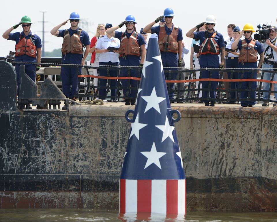 "June 8, 2018 - The crew of the Coast Guard Cutter James Rankin salute the Francis Scott Key buoy after its seasonal launch in the Patapsco River, Baltimore. The buoy was placed at the site where Francis Scott Key is said to have written the ""Star-Spangled Banner"". (Image created by USA Patriotism! from U.S. Coast Guard photo by Petty Officer 3rd Class Ronald Hodges.)"