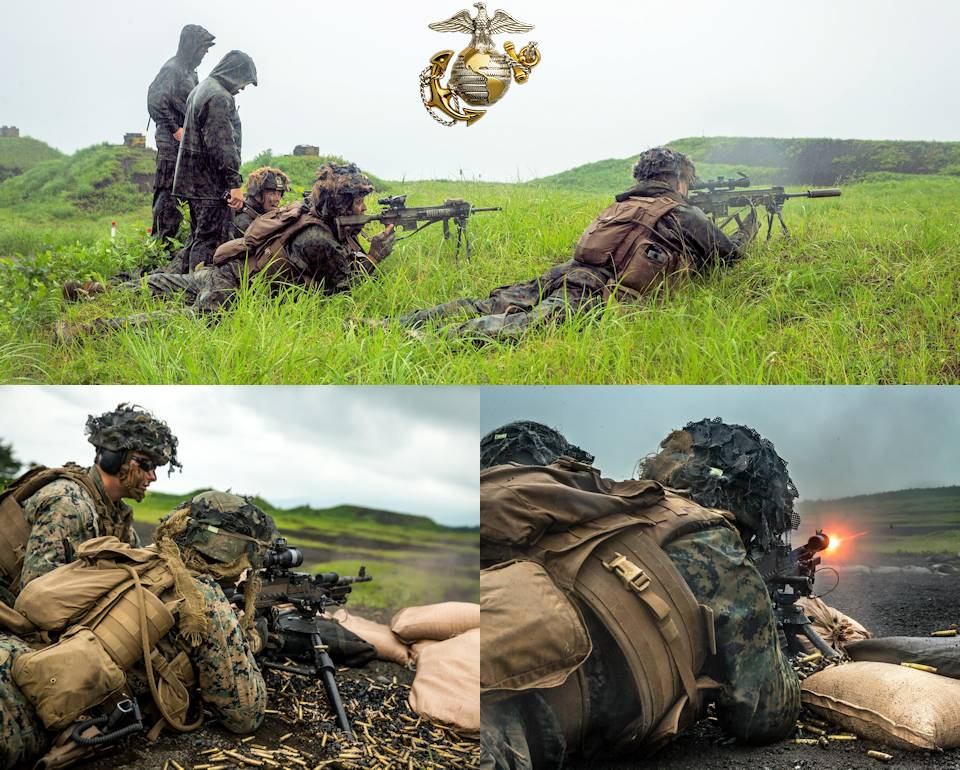U.S. Marines with 1st Battalion, 6th Marine Regiment, currently assigned to 3rd Marine Division under the Unit Deployment Program, utilize M240B machine guns during a mixed weapons range on Combined Arms Training Center Fuji, Japan, June 18-19, 2020. (Image created by USA Patriotism! from U.S. Marine Corps photo by Cpl. Savannah Mesimer)