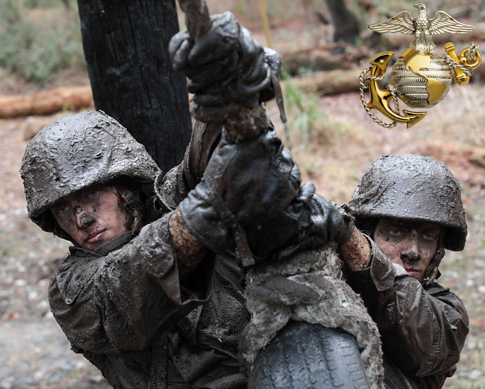 January 24, 2020 - Determined mud drenched U.S. Marine Corps recruits with Alpha Company, 1st Recruit Training Battalion, navigate through an obstacle course during the Crucible at Marine Corps Recruit Depot Parris Island, SC. The Crucible is the final culminating event before the recruits become Marines. (Image created by USA Patriotism! from U.S. Marine Corps photo by Lance Cpl. Samuel C. Fletcher)