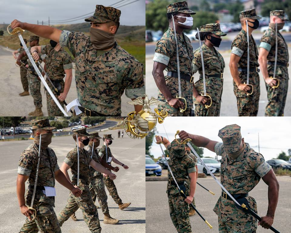 June 12, 2020 - U.S. Marines utilizing COVID-19 safety protocols execute several required functions with their noncommissioned officer's sword during sword manual practical application including ... drawing a sword, stand at attention with sword, march with a sword, and return a sword at the 13 Area parade deck on Camp Pendleton, California. (Image created by USA Patriotism! from U.S. Marine Corps photo by Lance Cpl. Angela Wilcox and Lance Cpl. Alison Dostie.)