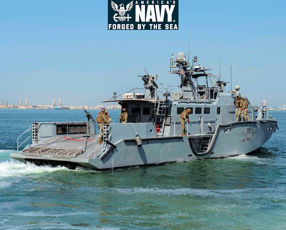 June 24, 2020 - A U.S. Navy Mark VI patrol boat, assigned to Commander, Task Force (CTF) 56, gets underway to support a bilateral patrol with the Bahraini coast guard in the Arabian Gulf. (Image created by USA Patriotism! from U.S. Navy photo by Mass Communication Specialist 3rd Class Jordan R. Bair.)