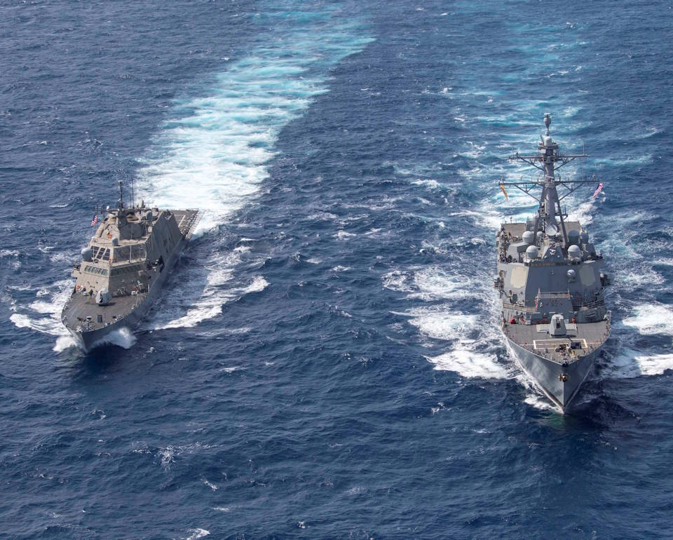 January 4, 2020 - The Freedom-variant littoral combat ship USS Detroit (LCS 7) and the Arleigh Burke-class destroyer USS Gridley (DDG 101) perform division tactics (DIVTACS) maneuvering exercises in the U.S. Southern Command's area of responsibility. (U.S. Navy photo by Mass Communication Specialist 2nd Class Devin Bowse)