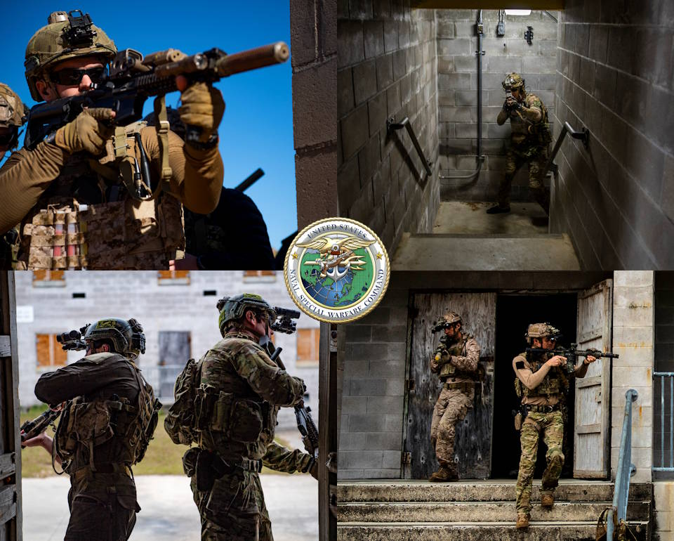 January 13, 2020 - Members assigned to Naval Special Warfare Group 2 search for enemy combatants in a building during Exercise TRIDENT (TD) 20-2. (Image created by USA Patriotism! from U.S. Navy photo by Mass Communication Specialist 2nd Class Russell Rhodes Jr.)
