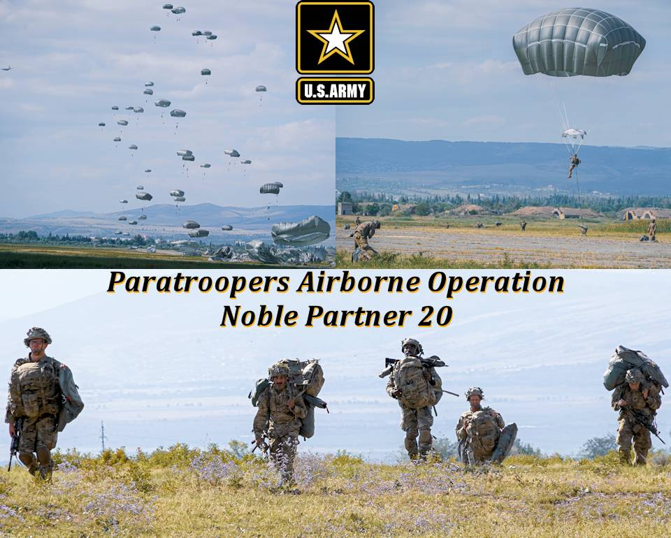 September 1, 2020 - U.S. Paratroopers, assigned to the 173rd Airborne Brigade, conduct an airborne operation during the Noble Partner 20 exercise at Vaziani Training Area, Georgia in the Caucasus region of Eurasia. (Image created by USA Patriotism! from U.S. Army photos by Sgt. LaShic Patterson.)