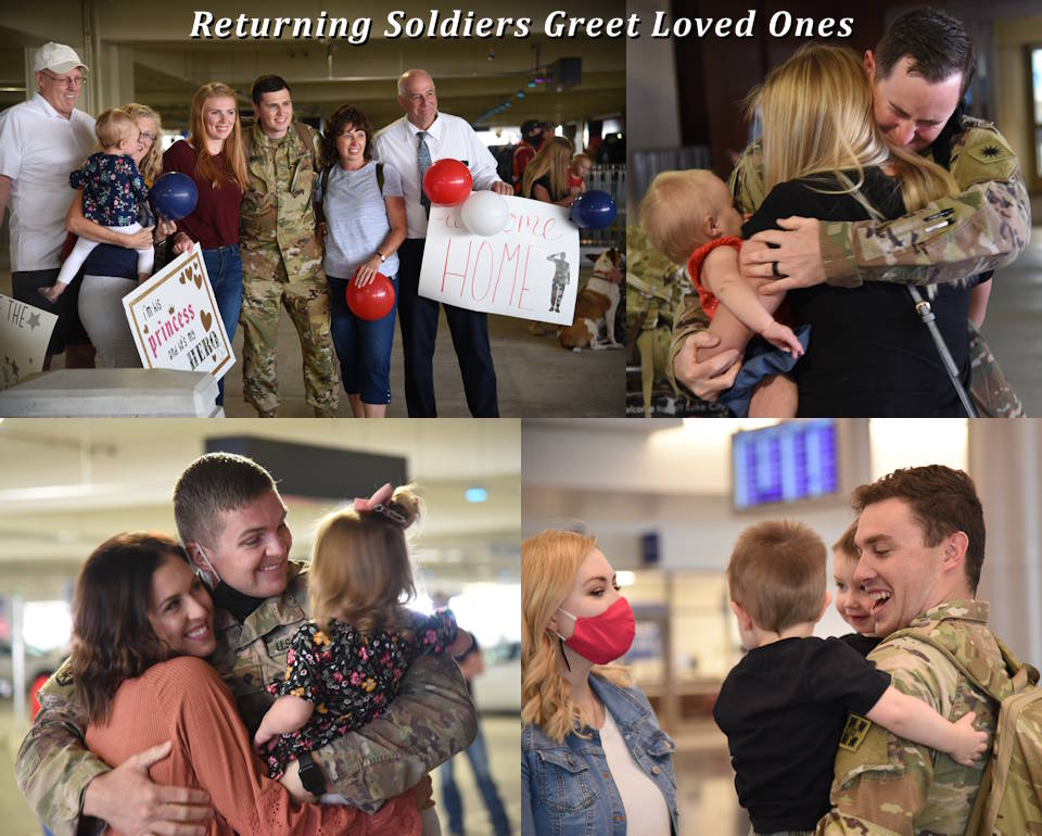 October 6, 2020 - U.S. Army soldiers with 1-211th Attack Reconnaissance Battalion greet loved ones at the Salt Lake City International Airport after departing from the plane that returned them home from their U.S. Central Command deployment. During the deployment, the battalion augmented the 4th Infantry Division's Combat Aviation Brigade providing combat-air support to ground forces operating in the CENTCOM area of operations. (Image created by USA Patriotism! from U.S. Army photos by Sgt. 1st Class John Etheridge.)