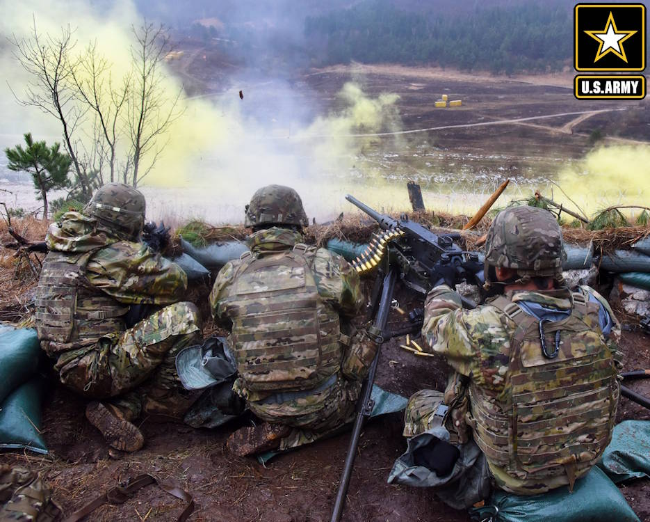 February 04, 2020 - U.S. Army Paratroopers assigned to the 173rd Brigade Support Battalion, 173rd Airborne Brigade, engage targets during a live-fire exercise with a M2 machine gun and M4 carbines during Exercise Lipizzaner VI at Pocek Range in Postojna, Slovenia. Lipizzaner is a combined squad-level training exercise in preparation for platoon evaluation, and to validate battalion-level deployment procedures. (Image created by USA Patriotism! from U.S. Army photo by Paolo Bovo, TSA Europe)