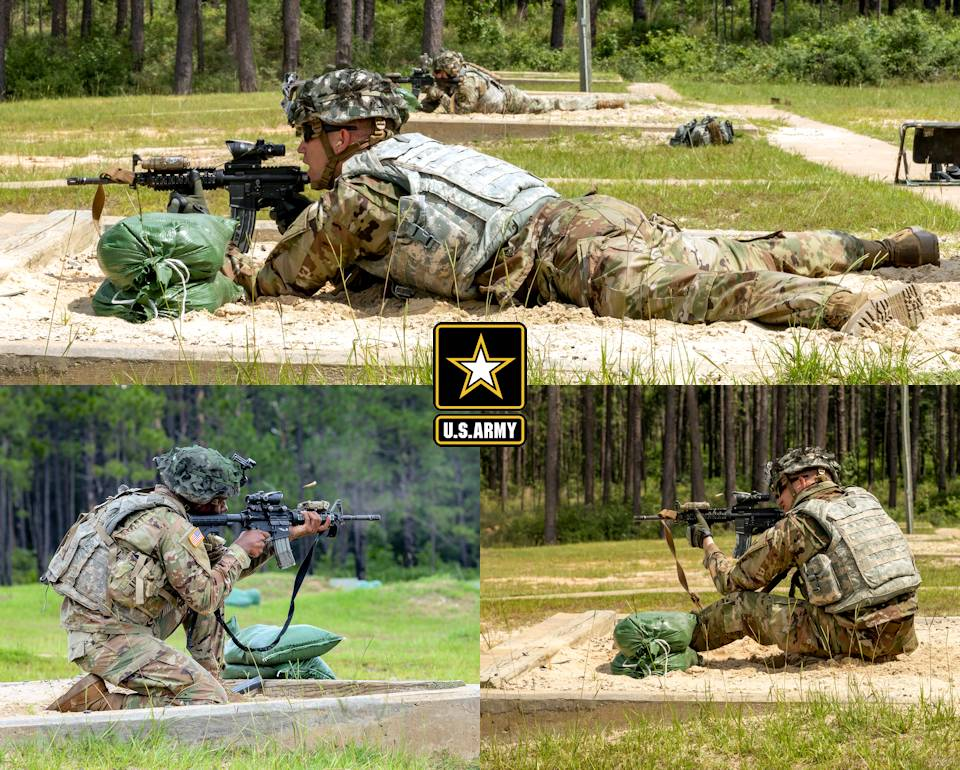 May 29, 2020 - U.S. Army Soldiers from Alpha Company, 2nd Battalion, 2nd Infantry Regiment, 3rd Brigade Combat Team, 10th Mountain Division, conduct M4 carbine rifle qualification at Range 3 on Fort Polk, Louisiana. (Image created by USA Patriotism! from U.S. Army photos by Staff Sgt. Ashley M. Morris)