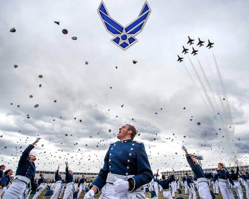 The U.S. Air Force Academy Class of 2020 graduates toss their hats skyward as the U.S. Air Force Thunderbirds roar overhead during the graduation ceremony in Colorado Springs, Colorado. Mike Pence, Vice President of the United States, delivered the graduation address to the nine-hundred-sixty-seven cadets, who crossed the stage to become the Air Force/Space Force's newest second lieutenants. (Image created by USA Patriotism! from U.S. Air Force photo by Trevor Cokley)