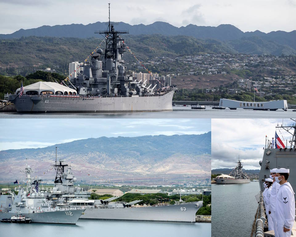 September 2, 2020 -  Scenes of the Battleship Missouri Memorial and USS Arizona Memorial with sailors aboard Arleigh Burke-class guided-missile destroyer USS Michael Murphy (DDG 112) rendering honors to both of the memorials during the official ceremony for the 75th Commemoration of the End of Word War II. (Image created by USA Patriotism! from photos by U.S. Navy MC1 Holly L. Herline and U.S. Air Air Force TSgt. Anthony Nelson Jr.)