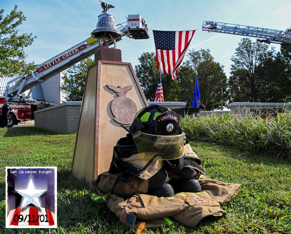 September 11, 2019 - A firefighter memorial is displayed during the 9/11 Remembrance Ceremony at Dover Air Force Base, Delaware. The ceremony honored those who lost their lives during the terrorist attacks 18 years ago ... that is now a national holiday known as Patriot Day. (Image created by USA Patriotism! from U.S. Air Force photo by Senior Airman Christopher Quail)