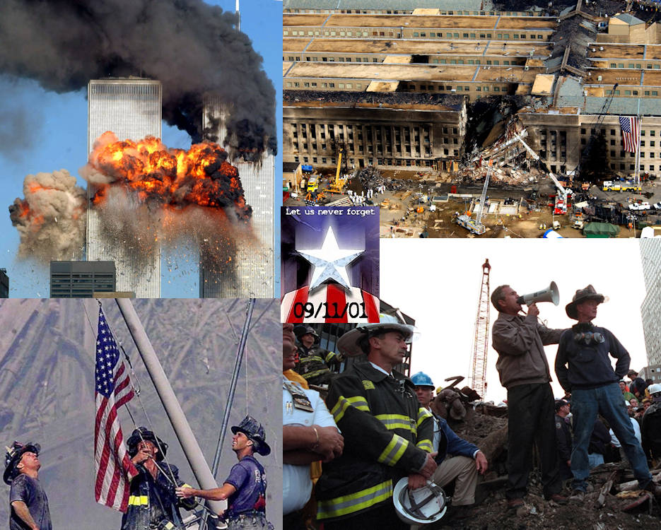The Never Forget 9/11/11 collage are photos taken within days of the terrorist attacks on the Twin Towers in New York and Pentagon on September 11, 2001. (Image created by USA Patriotism! on September 11, 2016)