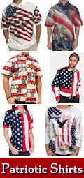 USA, military, and other patriotic themed pullover and button down Polo shirts