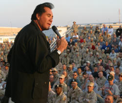 Wayne Newton entertaining the troops