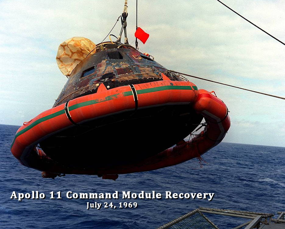 The Apollo 11 Command Module is hoisted aboard the USS Hornet, the prime recovery vessel for the historic Apollo 11 lunar landing mission. The splashdown took place at 12:49 p.m. ET, July 24, 1969, about 812 nautical miles southwest of Hawaii, only 12 nautical miles from the USS Hornet. (Image created by USA Patriotism! from NASA courtesy photo released on July 24, 2019.)