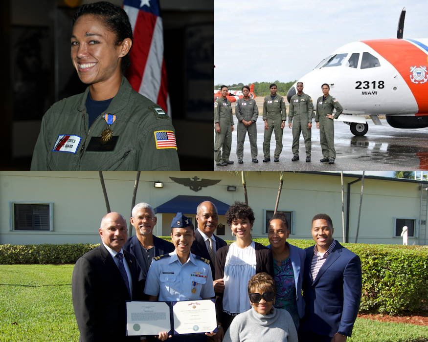 Coast Guard Lt. Ronaqua Russell is the first African-American female in the Coast Guard to be awarded the Air Medal at an event in Tuskegee, Alabama on February 21, 2019. She received it for her efforts during Hurricane Harvey. (Image created by USA Patriotism! from U.S. Coast Guard photos by Petty Officer 1st Class Jetta Disco and Lt.Cmdr. Ryan P Kelley)