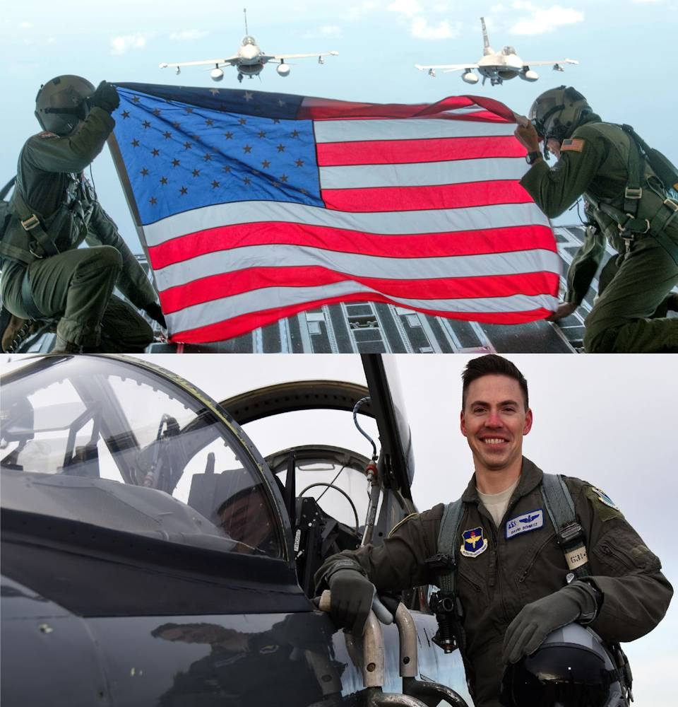 July 4, 2020 - Members of Team Charleston hold the flag up in honor of fallen U.S. Air Force hero 1st Lt. David Schmitz (32), a pilot with the 77th Fighter Squadron at Shaw Air Force Base at Joint Base Charleston, South Carolina. Two F-16 Fighting Falcons from The 169th Fighter Wing, McEntire Joint National Guard Base flew in formation behind the C-17 Globemaster III to honor Schmitz, who was killed in an F-16 crash at Shaw Air Force Base, South Carolina on June 30, 2020. (Image created by USA Patriotism! from U.S. Air Force photos by Senior Airman William Brugge and Laughlin Air Force Base)
