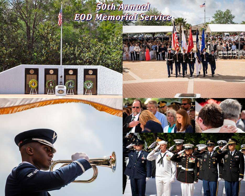 Scenes of the 50th Annual Explosive Ordnance Disposal (EOD) Memorial Service on May 4, 2019 at the Kauffman EOD Training Complex at Eglin Air Force Base, Florida. The Army added three new names this year bringing the all-service total to 341. Names of recent fallen and past EOD technicians are added to the memorial wall and flags presented to their families during a ceremony each year. (Image created by USA Patriotism! from photos by U.S. Air Force Samuel King Jr. and U.S. Navy Billy P. Martin)