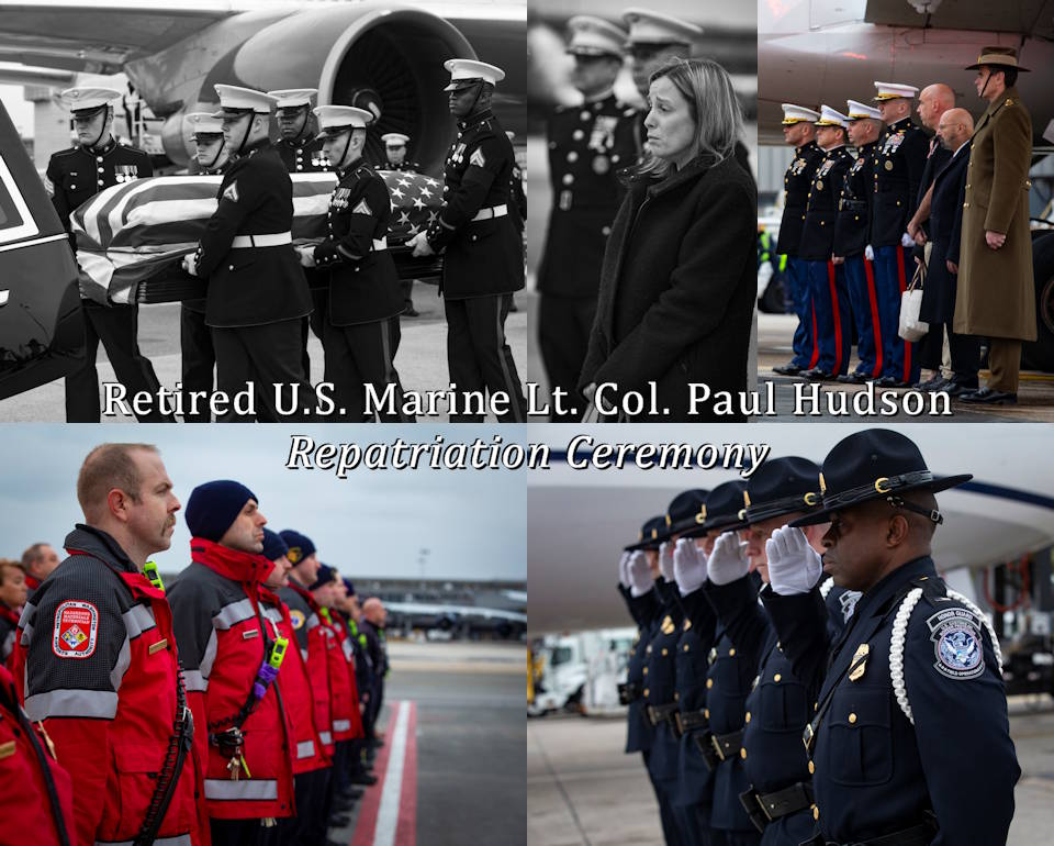 February 5, 2020 - Families, friends, Marines, First Responders and officials solemnly honor U.S. Marine, Lt. Col. Paul C. Hudson, retired, at his repatriation ceremony upon arrival of his remains at Dulles International Airport, in Washington, D.C. Hudson, resident of Buckeye, Arizona, was one of the three identified United States firefighters who died while battling wildfires in Australia, when a KC-130 Hercules aerial water tanker crashed in the state of New South Wales. (Image created by USA Patriotism! from U.S. Marine Corps photos by Cpl. Mikayla R. Perez)
