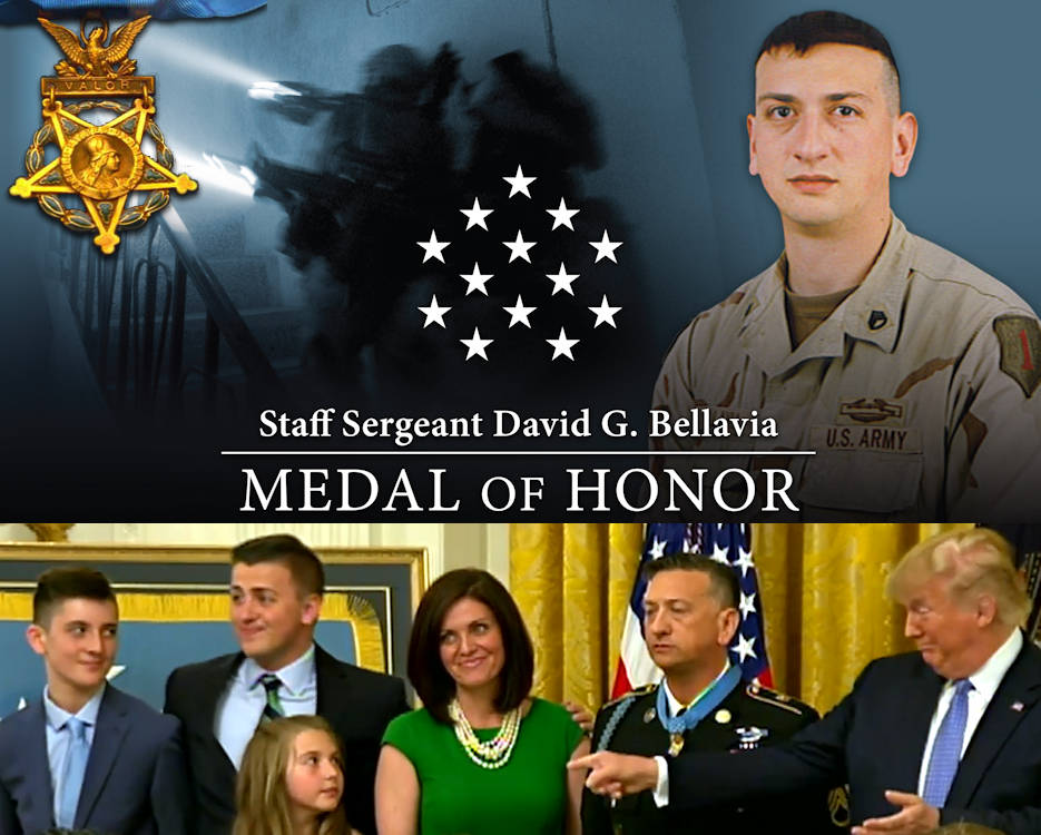 Former Army Staff Sergeant David G. Bellavia's family joins him and President Donald J. Trump shortly after the President presented Bellavia the Medal of Honor at the White House on June 25, 2019. Bellavia received the Medal of Honor for conspicuous gallantry in support of Operation Phantom Fury in Fallujah, Iraq on November 10, 2004. (Image created by USA Patriotism! from courtesy graphic by the U.S. Army and scene from David Bellavia's Medal of Honor ceremony provided by the White House.)