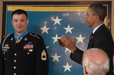 President Obama applauds Army Sergeant First Class Leroy A. Petry after presenting the hero with the Medal of Honor at the White House on July 12, 2011.
