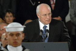 Vice President Richard B. Cheney pays tribute to the former President Gerald R. Ford during services at the U.S. Capitol Rotunda, Dec. 30, 2006.