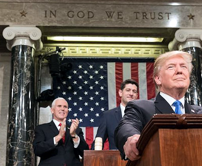 President Donald J. Trump Delivering the State of the Union Address on January 30,2018. (Official White House Photo by Shealah Craighead)