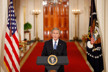 President George W. Bush giving his farewell address to nation