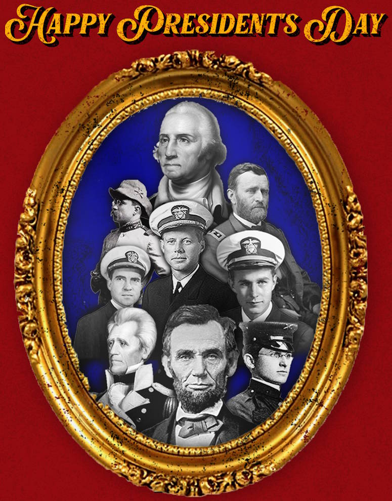A Presidents Day tribute honoring George Washington's birthday (top) with President Lincoln at the bottom along with other Presidents wearing their respective military service's uniform. (U.S. Marine Corps layout and design by LCpl. Devin M. Darden - February 14, 2020)