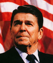 President Ronald Reagan with flag in background