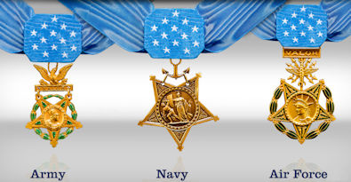 Medal of Honor medals for the Air Force, Army, and Navy / Marines