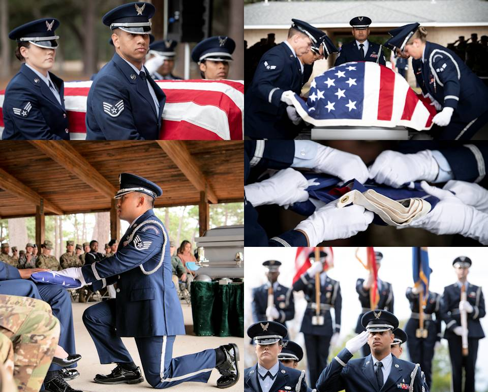 December 6, 2019 -  Scenes of the Honor Guard graduation ceremony performance at Eglin Air Force Base, Florida, where 19 new Airmen completed the 120-plus-hour Honor Guard course. The performance includes pallbearers; bugler (Taps); family and unit commanders; rifle volley; and, flag detail with rendering salute. (Image created by USA Patriotism! from U.S. Air Force photo by Samuel King Jr.)