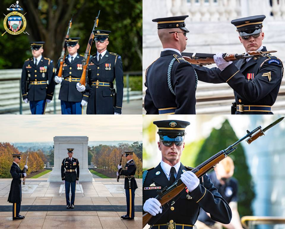Scenes of Sentinels from the U.S. Army 3d U.S. Infantry Regiment (The Old Guard) conducting a changing of the guard at the Tomb of the Unknown Soldier at Arlington National Cemetery, Arlington, Virginia. (Image created by USA Patriotism! from U.S. Army photos by Elizabeth Fraser, Arlington National Cemetery)
