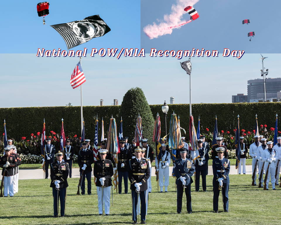 September 20, 2019 - A Joint Service Color Guard is presented with the colors during National POW/MIA Recognition Day as the POW/MIA flag is flown by a U.S. Army Special Operations Command Black Dagger during a joint parachute jump with the U.K. Red Devils Parachute Regiment Display Team at the Pentagon, Washington. (Image created by USA Patriotism! from U.S. Department of Defense photos by U.S. Navy Petty Officer 2nd Class James K. Lee)