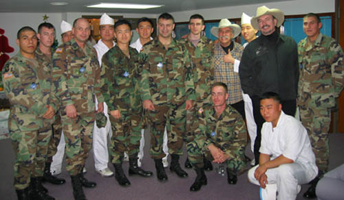David and Howard with troops and South Koreans during 2004 tour.
