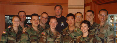 Darryl Worley in group photo with troops in Korean DMZ, October 2004.