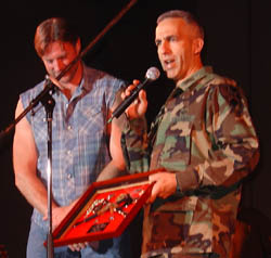 Darryl being honored during a performance to the troops in Korean DMZ, October 2004.
