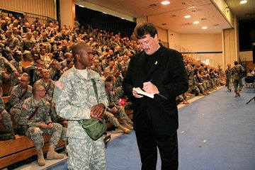 Eric Horner signing his autograph for soldier at Ft. Jackson, SC in 2008